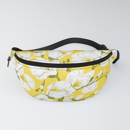 White freesia on a yellow background Fanny Pack