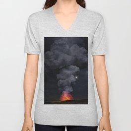 Moon Over Kilauea Volcano at Kalapana Unisex V-Neck