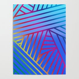 Rainbow Ombre Pattern with Blue Background Poster