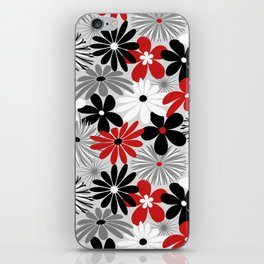 Funky Flowers in Red, Gray, Black and White iPhone Skin