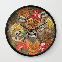 Because Sloths Autumn Wall Clock