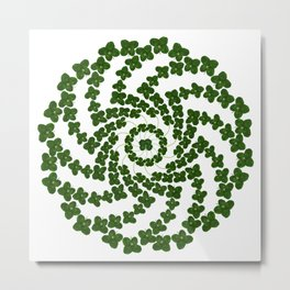 Lucky mandala-real four-leaf clovers Metal Print