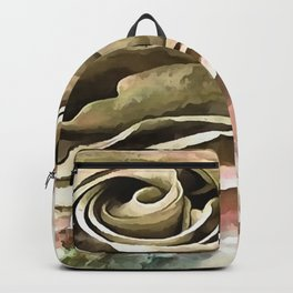 Coral and Grey Greige Artistic Romantic Rose Backpack