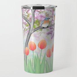 eastern bluebirds, tulips, & lilacs Travel Mug
