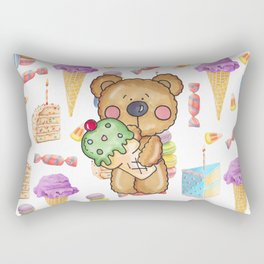 Birthday Boy Bear Cake and Ice Cream Yummy Rectangular Pillow