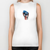puerto rico Biker Tanks featuring Puerto Rican Flag on a Raised Clenched Fist by Jeff Bartels
