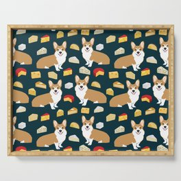 corgi cheese lover - edam, brie, cheddar, camembert, french food, food, cute dog Serving Tray