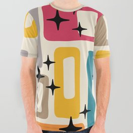 Retro Mid Century Modern Abstract Pattern 242 All Over Graphic Tee