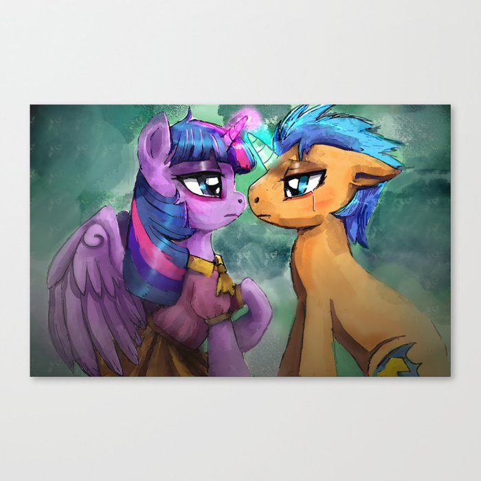 Twilight Sparkle And Flash Sentry Are Helpless By The River Canvas