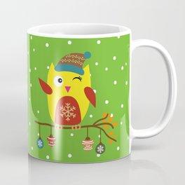 Cute Owl sitting on a branch with christmas baubles, Winter, X-mas Design Coffee Mug