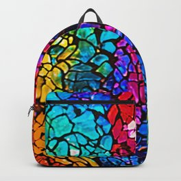 Colorful Rainbow Colored Cracked Mosaic Glass Backpack