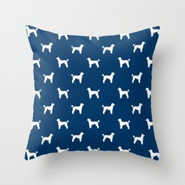 Poodle silhouette blue and white minimal modern dog art pet portrait dog breeds Throw Pillow