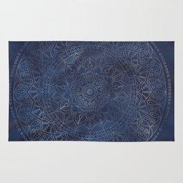 Vintage Circle of Life Mandala full color on blue swirl Distressed Rug