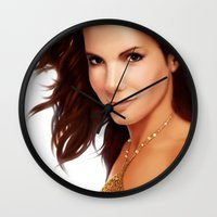sandra dieckmann Wall Clocks featuring Sandra Bullock by RoPerez