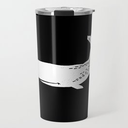 Whale sperm whale ocean life black and white linocut minimal art Travel Mug