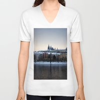 prague V-neck T-shirts featuring Prague Castle by Erik Witsoe Photography
