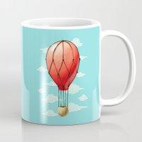 hot air balloon Mugs featuring Hot Air Balloon by Freeminds
