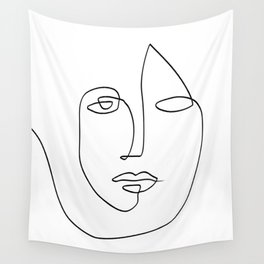 Abstract face One Line Art Wall Tapestry