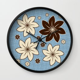 Floral design on blue Wall Clock