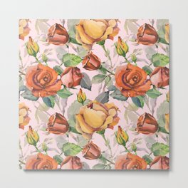 Blush pink orange brown watercolor roses floral Metal Print