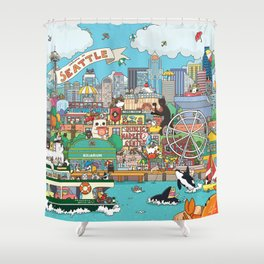 Seattle cats Shower Curtain