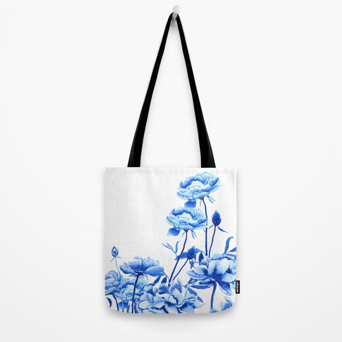 blue peonies Tote Bag
