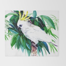 White Cockatoo and Tropical Foliage Throw Blanket