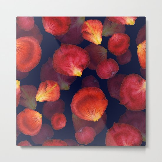 Rose Petal Pattern on Darck 04 Metal Print