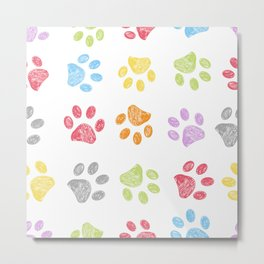 Doodle colorful paw print seamless fabric design repeated pattern with white background Metal Print