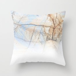 Cotton Latte Marble - Ombre blue and ivory Throw Pillow
