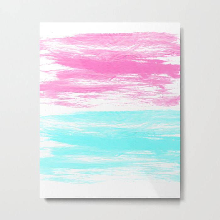 Summer Brushstrokes painting boho modern minimal abstract neon painting cool beach socal vibe Metal Print