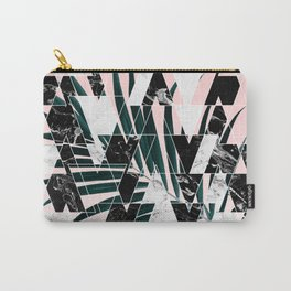 Modern geometric triangles black white abstract marble pattern palm tree leaf pink ombre Carry-All Pouch