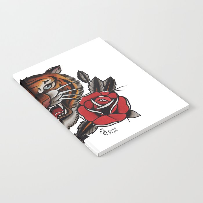 ceed7eb5f Old School Tiger and roses - tattoo Notebook by gurumarques   Society6