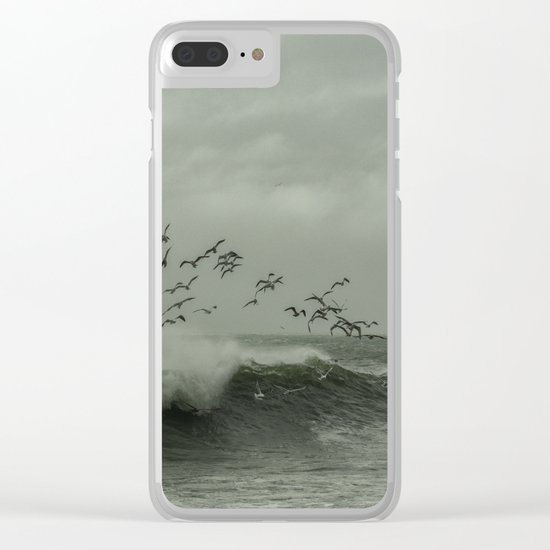Birds dancing in the waves Clear iPhone Case