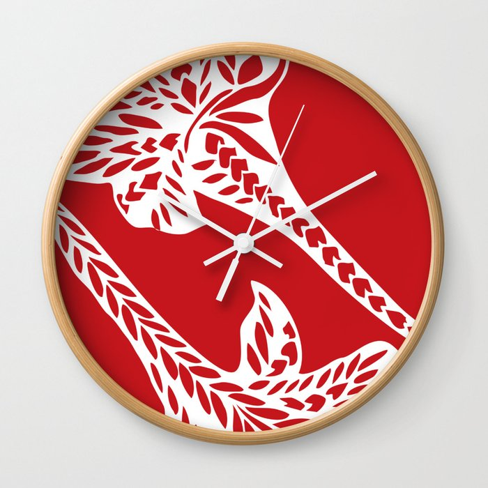 0a6099d1e Retro Red Chic Polynesian Tribal Geometric Graphic Floral Tattoo Wall Clock.  by