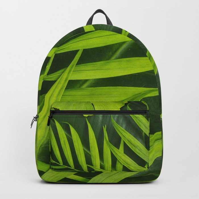 Fresh Green Tropical Palm and Gingko Leaf Backpack