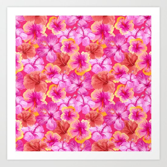 Tropical hibiscus flowers flower floral pattern on pink Art Print