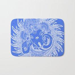 Ganesha Lineart Blue White Bath Mat