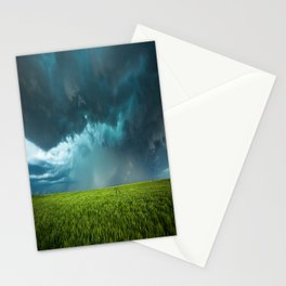 April Showers - Colorful Stormy Sky Over Lush Field in Kansas Stationery Cards