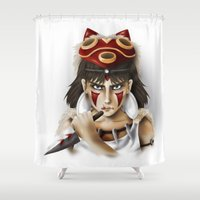 princess mononoke Shower Curtains featuring Mononoke by Cristina Valero