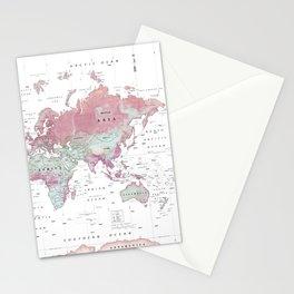 World Map Wall Art [Pink Hues] Stationery Cards