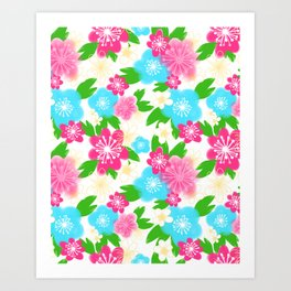 04 Pattern of Watercolor Flowers Art Print
