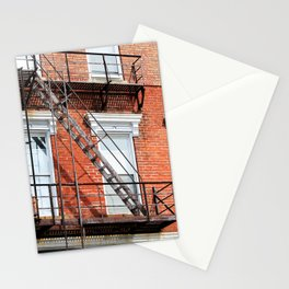 Old Red Brick Apartment with Ladders Stationery Cards