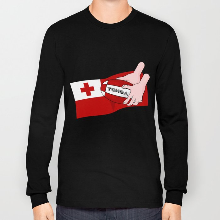 Tonga Rugby Flag Long Sleeve T-shirt