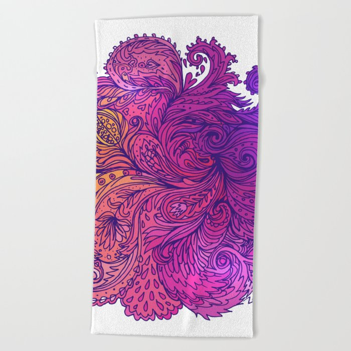 Purple Floral Indian Pattern Beach Towel