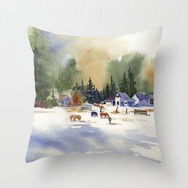 Colorado Horse Ranch Throw Pillow
