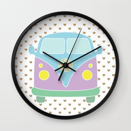 Pastel Bus - I love travelling Wall Clock