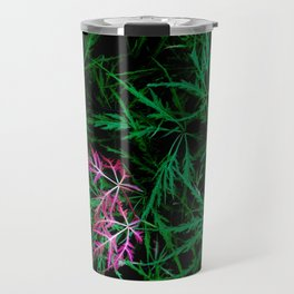 A bit of red leaves in a green bush Travel Mug