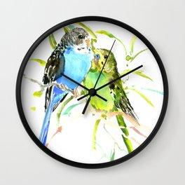 Budgies, love bird green blue decor Wall Clock