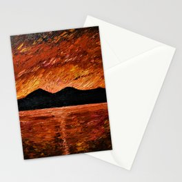 FIERY SUNSET AT MURLOUGH - Oil  Painting Stationery Cards